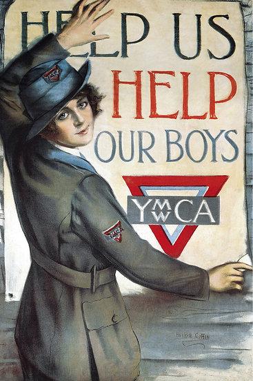 "Vintage YMCA WW1 Propaganda Poster ""Help Us Help Our Boys"" Digital Download"