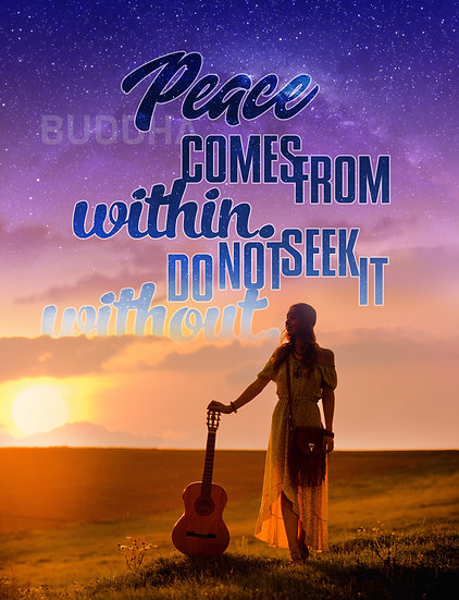 """Buddha Quote Wall Art """"Peace Comes from Within"""" Digital Download"""