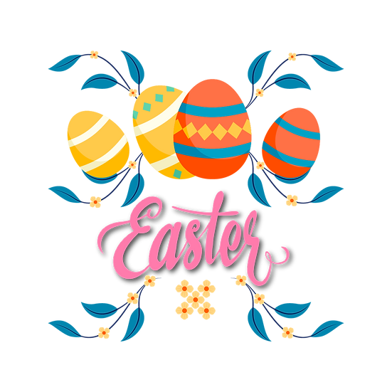 Easter Clipart with Eggs - Easter PNG Transparent Image - Instant Download