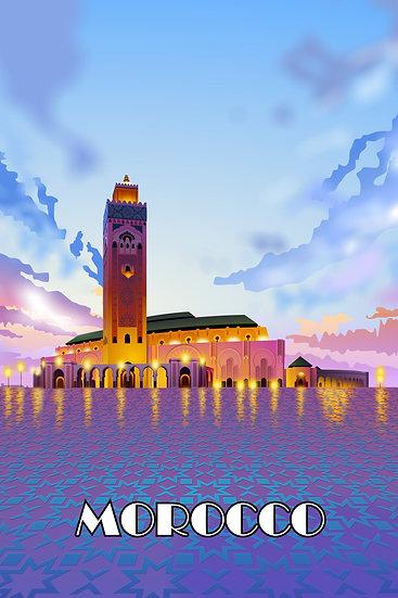 Morocco Mosque Vintage Poster, Morocco Print, Travel Prints Digital Download