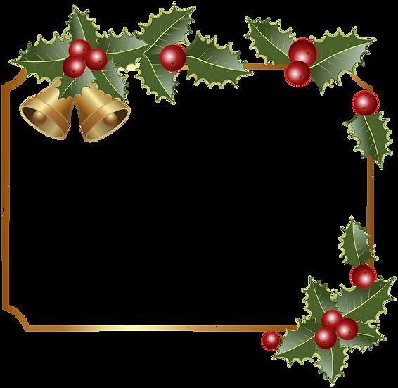 Christmas Frame with Bells - Transparent Background, Digital Poster