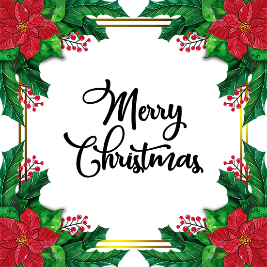 Christmas Greeting Card with Flowers – Digital Poster, Digital Download