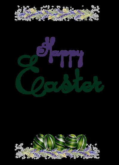 Happy Easter Botanical Greeting Card - Transparent Image - Instant Download