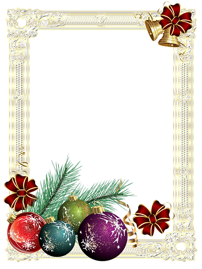 Christmas Frame with Tree Ornaments – Transparent Background, Digital Poster