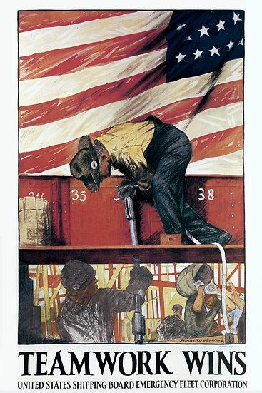 "WW1 American Propaganda Poster ""Team Work Wins"" Digital Download"