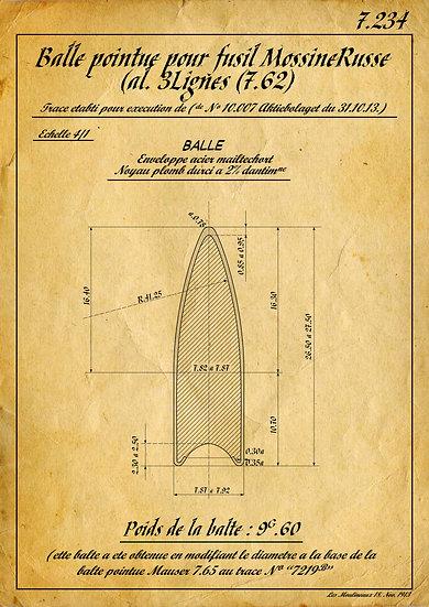 WW1, WW2 7.62×54mmR Bullet Patent Print Digital Download