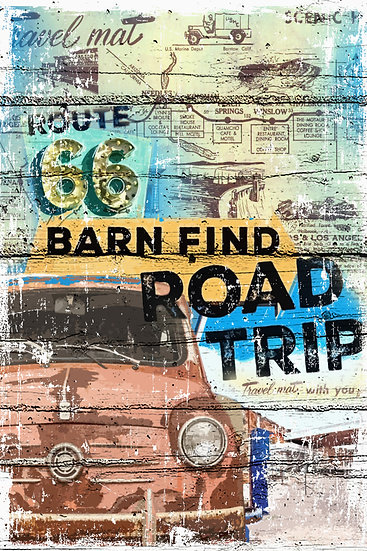 """Route 66 Poster """"Barn Find Road Trip"""", Distressed Wall Decor Digital Download"""