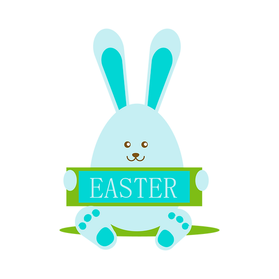 Easter Clipart with Cute Easter Bunny - PNG Transparent Image - Instant Download