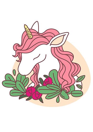 Unicorn with Flowers Printable Digital Files: SVG, PNG, DXF, AI, EPS, JPEG