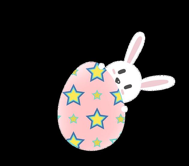 Bunny Hiding Behind an Easter Egg - PNG Transparent Image - Instant Download