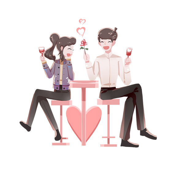 Couple on a Romantic Date - Valentine's Day Transparent Image - Instant Download