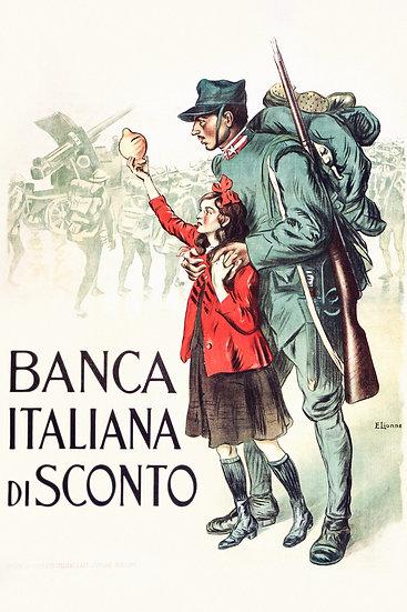 """WW1 Italian Propaganda Poster """"Banca Italiana Di Sconto"""" Digital Download"""