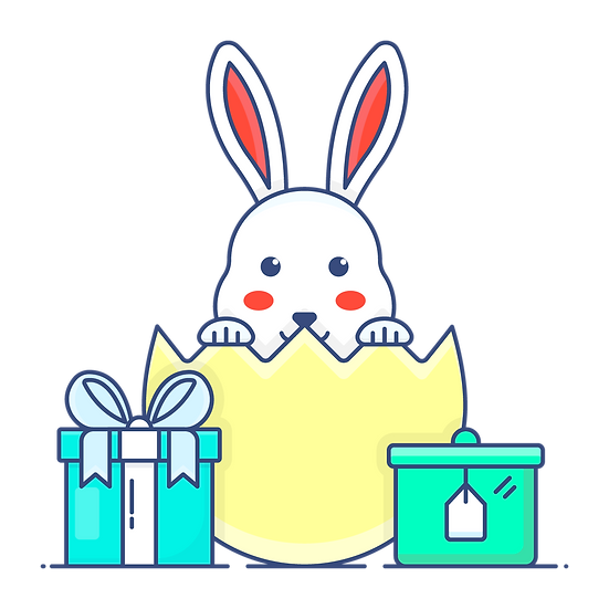 Easter Bunny with Gifts Clipart - PNG Transparent Image - Instant Download