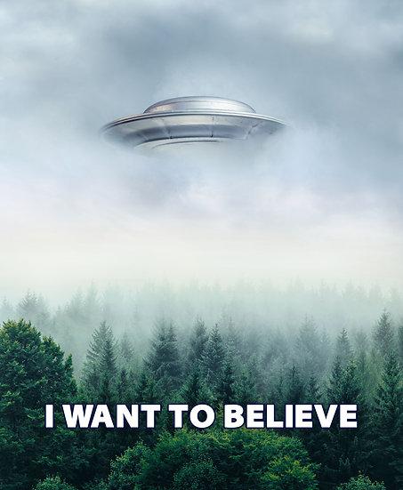 I Want To Believe Poster, Ufo Wall Art, Ufo Print Digital Download