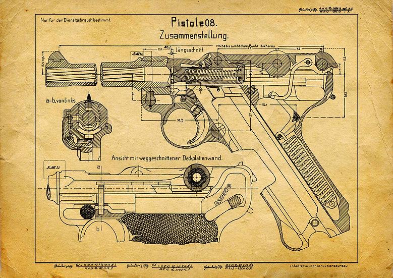 WW1, WW2 Luger P08 Patent Print Digital Download