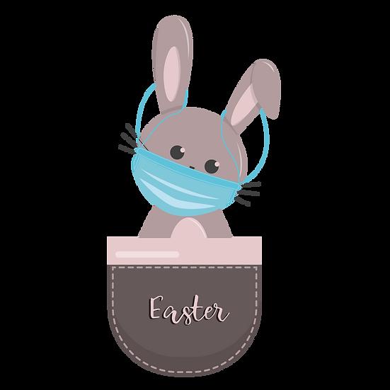 Bunny Wearing Face Mask - Easter 2021 PNG Transparent Image - Instant Download