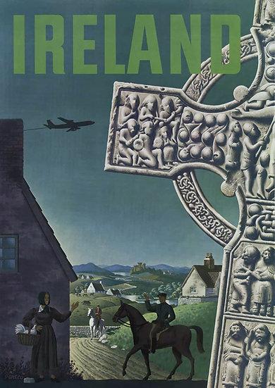 Ireland Vintage Poster, Irish Village Life, Travel Poster Digital Download