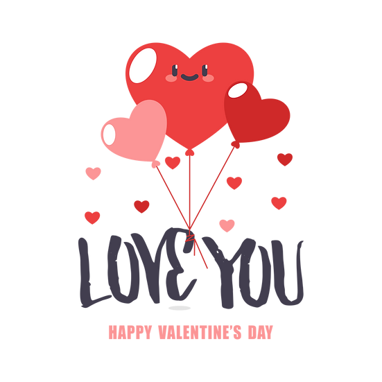 Love You Greeting Card - Valentine's Day PNG Transparent Image, Instant Download