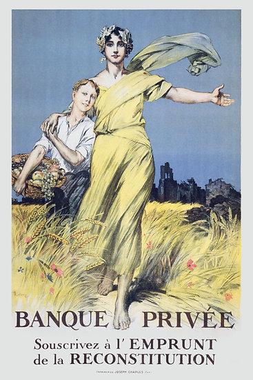 "Post WW1 French Poster ""L'Emprunt de la Reconstitution"" Digital Download"