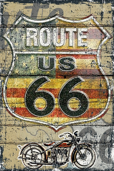 Route 66 Poster, Distressed Wall Decor, Route 66 Vintage Digital Download