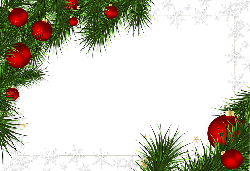 Christmas Frame with Ornaments - Transparent Background, Cheap Digital Download