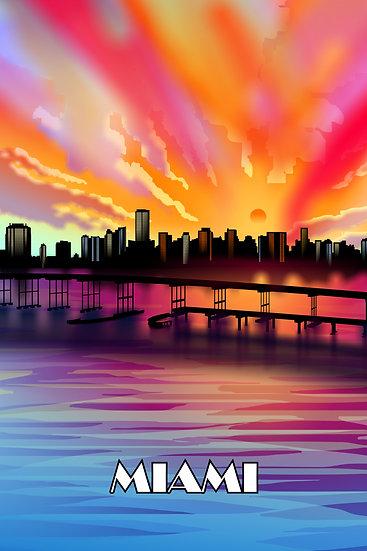 Miami Bridge Vintage Poster, Miami Art, Travel Wall Art Digital Download