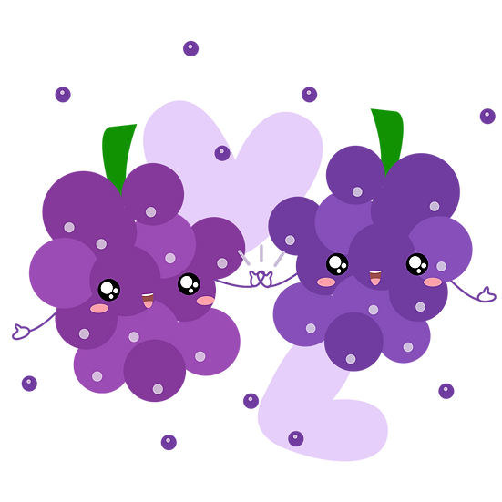 Grapes Love - Valentine's Day PNG Transparent Image - Instant Download