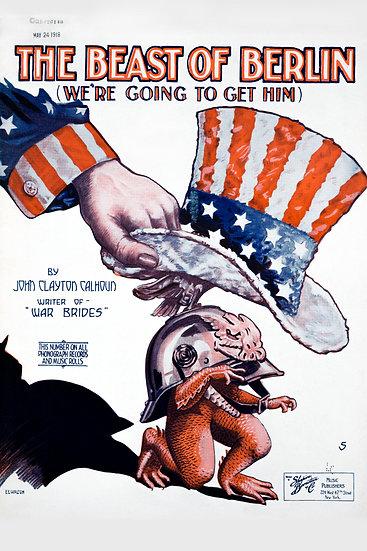 "WW1 Anti German Propaganda Poster ""The Beast of Berlin"" Digital Download"