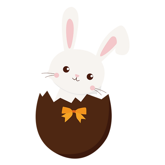 Easter Bunny in a Chocolate Egg - PNG Transparent Image - Instant Download