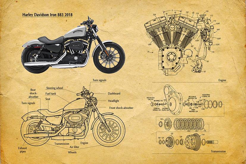 Harley Davidson Iron 883 Patent Print Digital Download