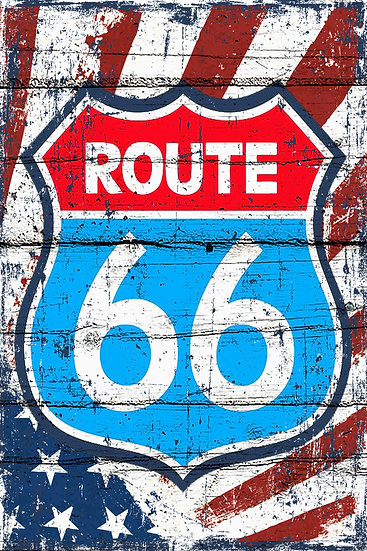 """Distressed Wall Decor """"Route 66"""", US Route 66 Print Digital Download"""