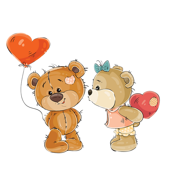 Sweet Couple of Teddy Bears - Valentine's Day PNG Image - Instant Download