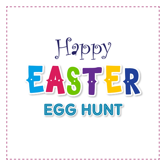 Easter Egg Hunt Colorful Inscription - PNG Transparent Image - Instant Download