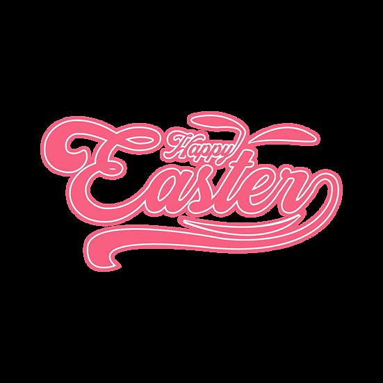 Happy Easter Pink Inscription - PNG Transparent Image - Instant Download