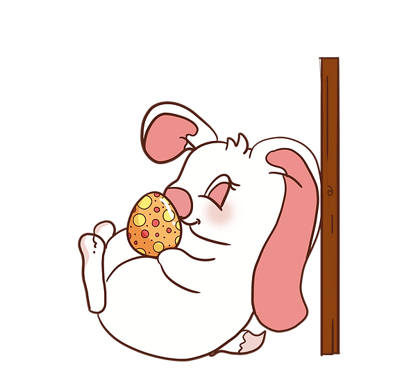 Bunny Playing with Easter Egg - PNG Transparent Image - Instant Download