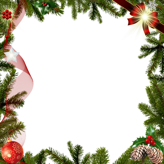 Christmas Frame with Pine Cones – Digital Downloads, Christmas Frame PNG