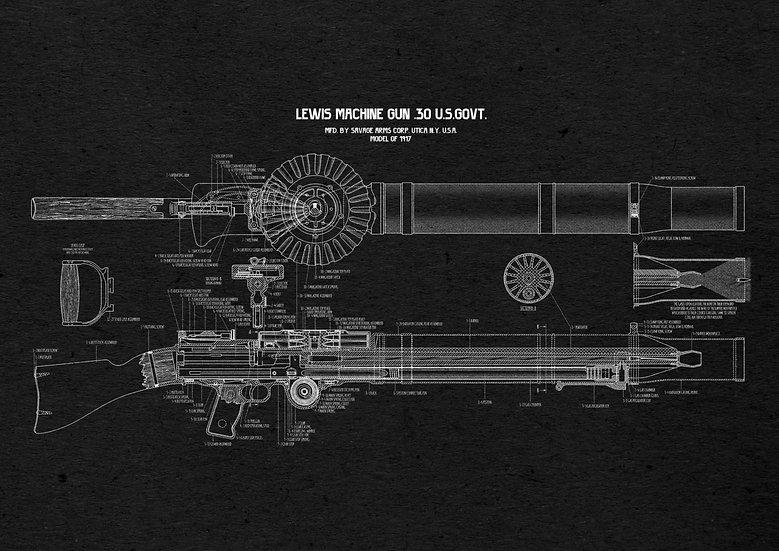 WW1, WW2 Lewis Automatic Machine Gun Patent Print Digital Download