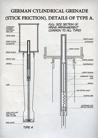 WW1 German Cylindrical Hand Grenade Patent Print Digital Download