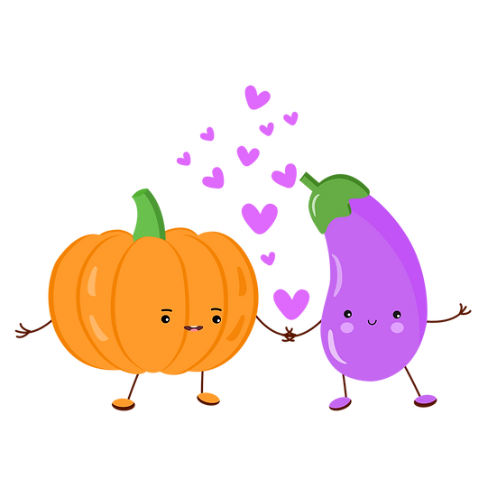 Pumpkin and Eggplant - Valentine's Day PNG Transparent Image - Instant Download