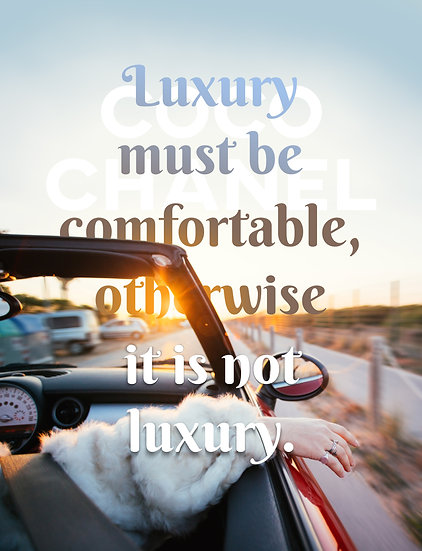 """Coco Chanel Quote Print """"Luxury Must Be Comfortable"""" Digital Download"""