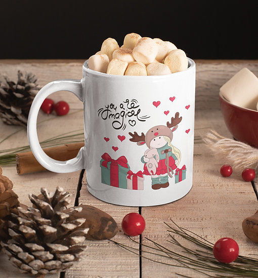 Girl with Christmas Gifts Mug for Coffee / Tea, White Ceramic 7