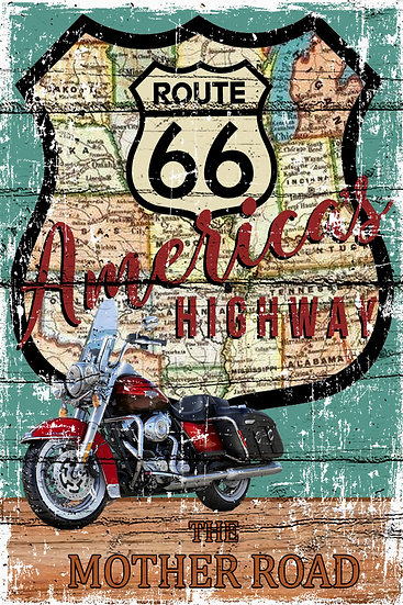 """Route 66 Wall Decor, """"Route 66 - The Mother Road"""" Poster Digital Download"""