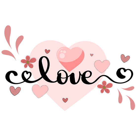 Cute Love Clipart - Valentine's Day PNG Transparent Image - Instant Download