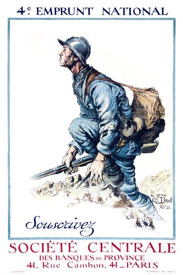 "WW1 French Propaganda Poster ""4e Emprunt National, Souscrivez"" Digital Download"