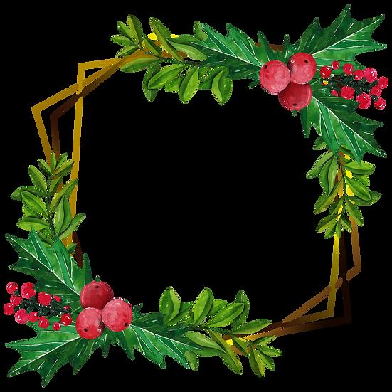 Charming Merry Christmas Frame – Transparent Background, Digital Poster