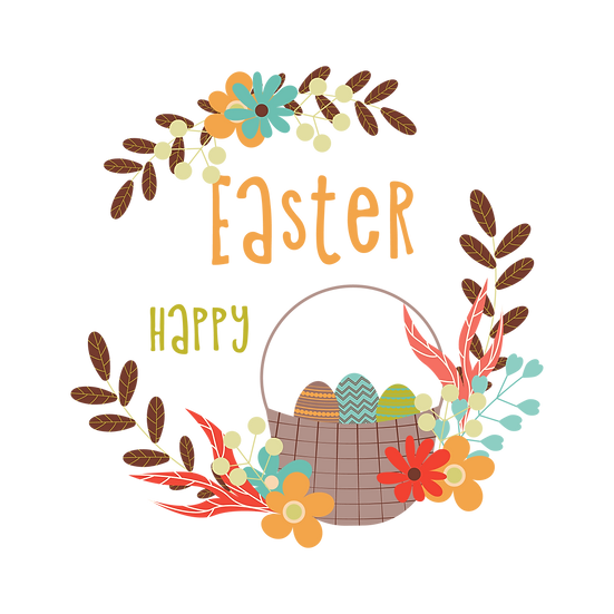 Happy Easter Beautiful Greeting Card - PNG Transparent Image - Instant Download