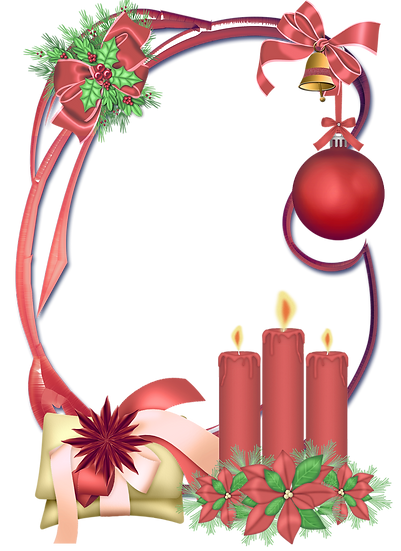 Christmas Frame with Candles - Transparent Background, Cheap Digital Download