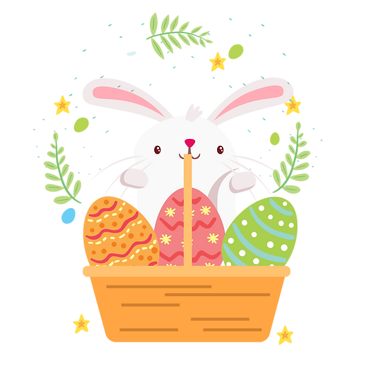 Easter Bunny with Basket of Eggs - PNG Transparent Image - Instant Download