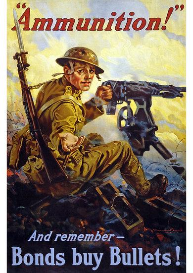 "WW1 US Propaganda ""And Remember - Bonds Buy Bullets!"" Digital Download"