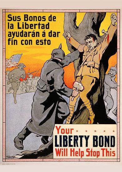 "WW1 US Propaganda Print ""Your Liberty Bond Will Help Stop This"" Digital Download"